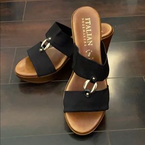 Italian Shoemakers Black Elly Wedge Sandal NWT